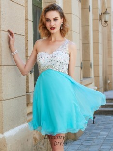 A-Line Sleeveless One-Shoulder Chiffon Short Dress with Beading