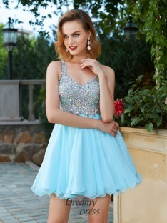 A-Line Sleeveless Straps Short Chiffon Dress with Rhinestone