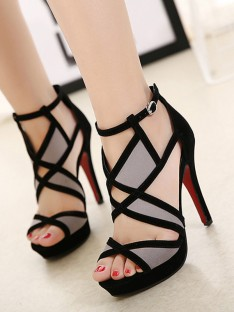 Hollow-out Stylet Talon Peep Toe Sandales
