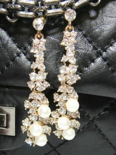 Alliage Faux diamants Boucles D'oreilles